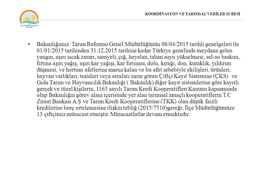 Bakanlığımız Tarım Reformu Genel Müdürlüğünün 08/04/2015 tarihli genelgeleri ile 01/01/2015 tarihinden 31.12.2015 tarihine kadar Türkiye genelinde mey
