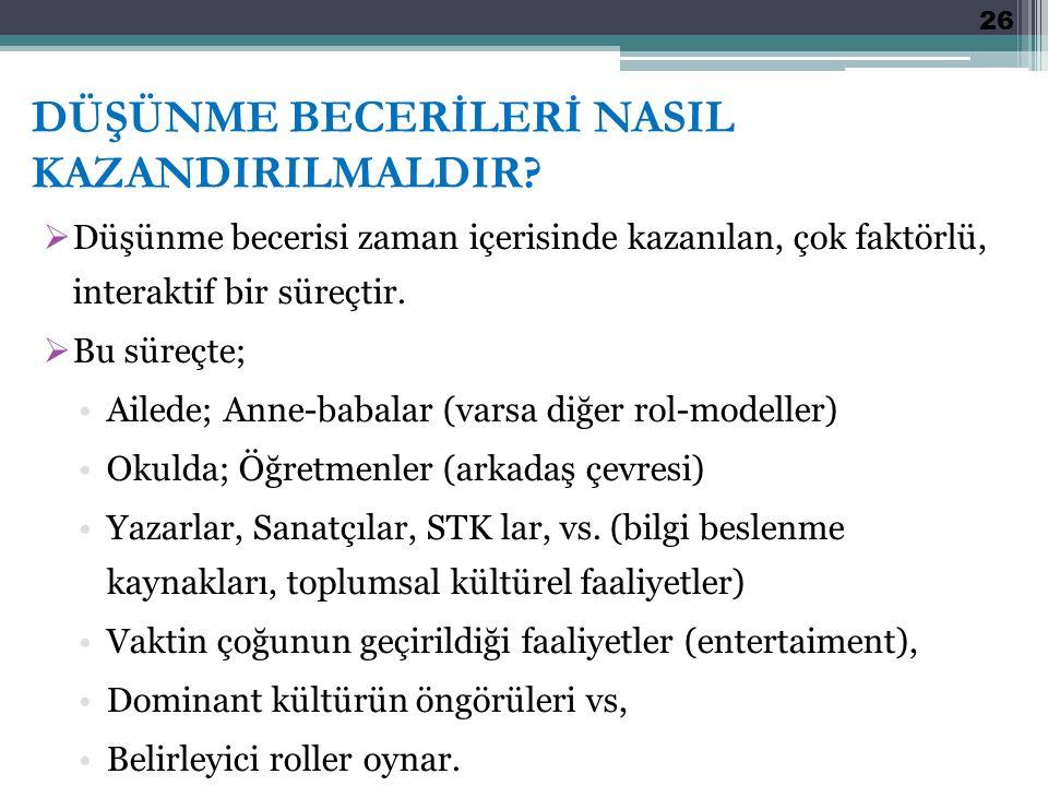 DÜŞÜNME BECERİLERİ NASIL KAZANDIRILMALDIR.