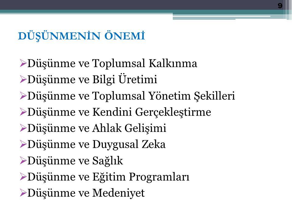DÜŞÜNME BECERİSİ KAZANDIRMA YAKLAŞIMLARI (özet); 1.