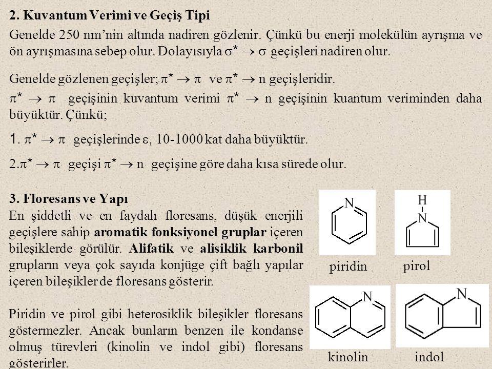 4.Yapısal Rijitliğin Etkisi Rijit yapılara sahip moleküllerde floresans daha fazladır.
