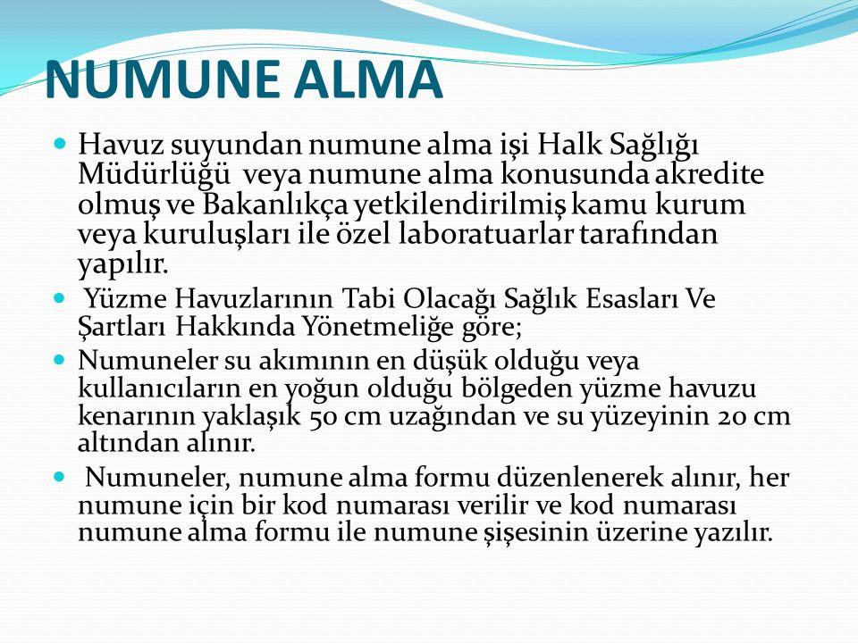 NUMUNE ALMA Havuz suyundan numune alma işi Halk Sağlığı Müdürlüğü veya numune alma konusunda akredite olmuş ve Bakanlıkça yetkilendirilmiş kamu kurum