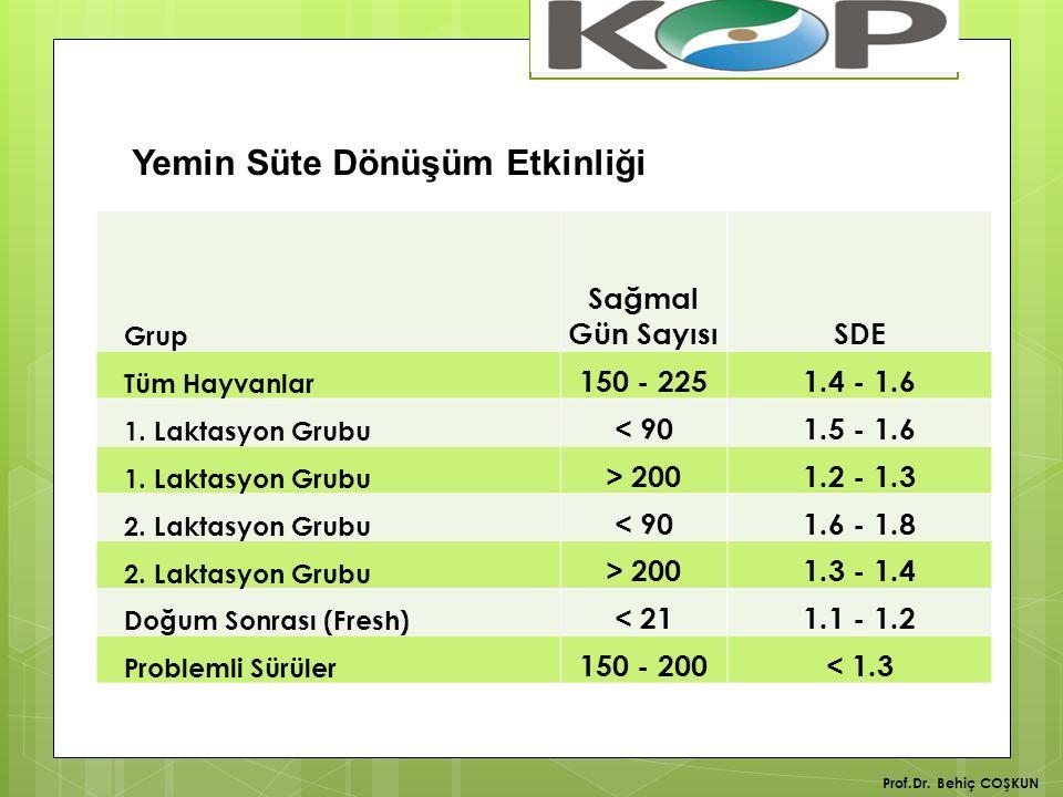 Prof.Dr.Behiç COŞKUN Grup Sağmal Gün SayısıSDE Tüm Hayvanlar 150 - 2251.4 - 1.6 1.