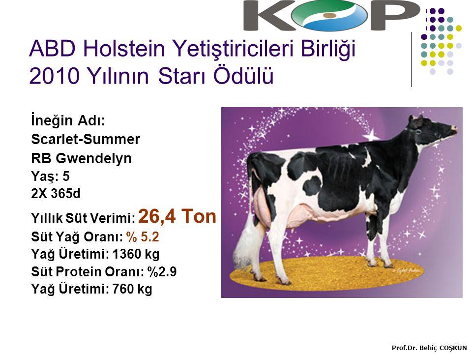 ABD Holstein Yetiştiricileri Birliği 2010 Yılının Starı Ödülü İneğin Adı: Scarlet-Summer RB Gwendelyn Yaş: 5 2X 365d Yıllık Süt Verimi: 26,4 Ton Süt Yağ Oranı: % 5.2 Yağ Üretimi: 1360 kg Süt Protein Oranı: %2.9 Yağ Üretimi: 760 kg Prof.Dr.