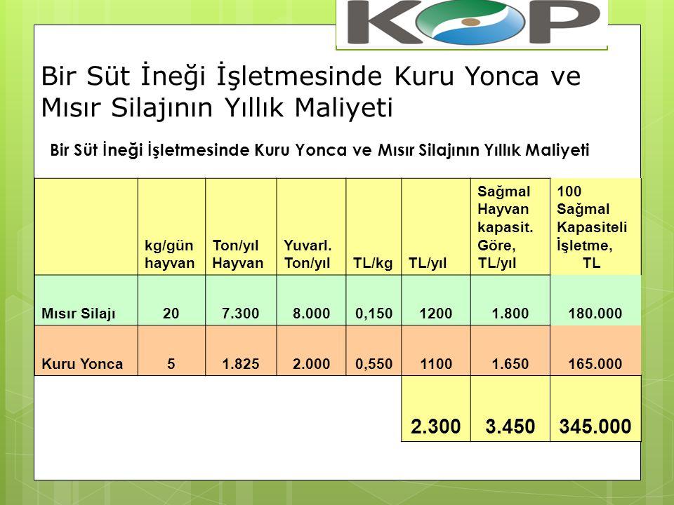 kg/gün hayvan Ton/yıl Hayvan Yuvarl.Ton/yılTL/kgTL/yıl Sağmal Hayvan kapasit.
