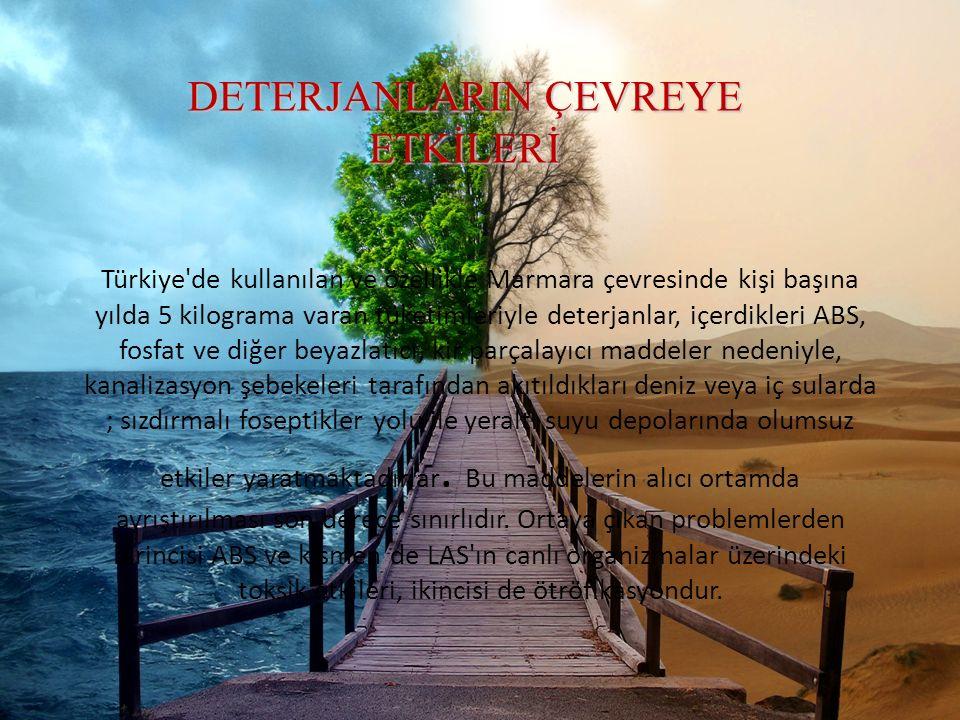DETERJANLARIN ÇEVREYE ETKİLERİ Türkiye'de kullanılan ve özellikle Marmara çevresinde kişi başına yılda 5 kilograma varan tüketimleriyle deterjanlar, i
