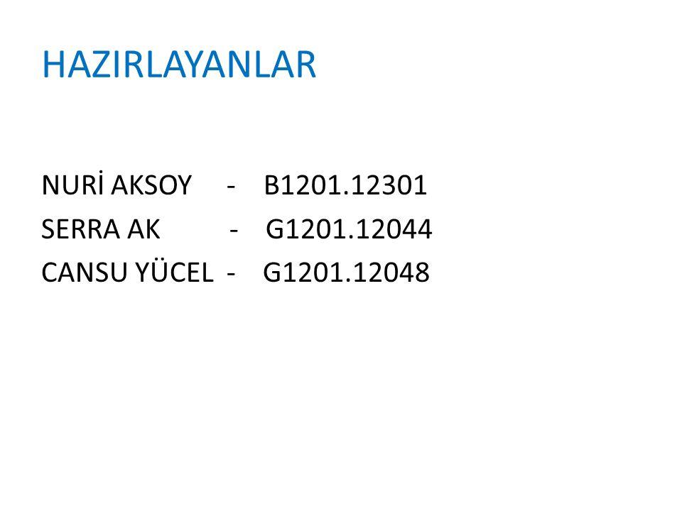 HAZIRLAYANLAR NURİ AKSOY - B1201.12301 SERRA AK - G1201.12044 CANSU YÜCEL - G1201.12048