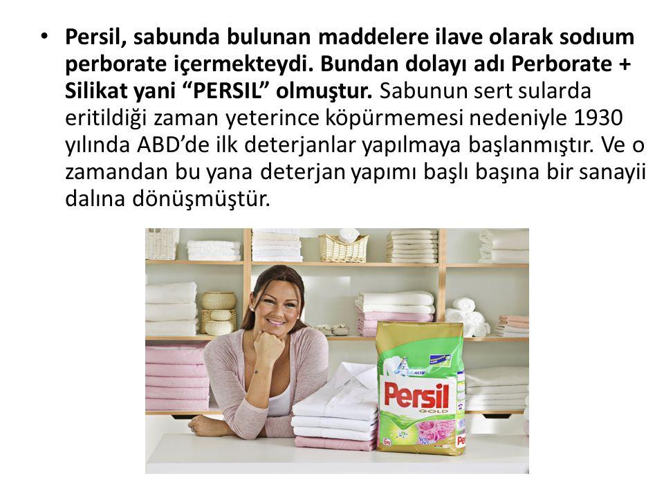 """Persil, sabunda bulunan maddelere ilave olarak sodıum perborate içermekteydi. Bundan dolayı adı Perborate + Silikat yani """"PERSIL"""" olmuştur. Sabunun se"""