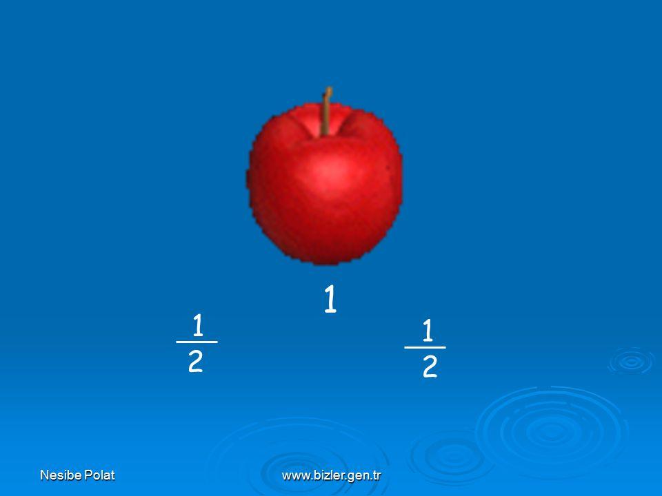 www.bizler.gen.tr 8 elmayı 2 sepete eşit paylaştıralım Her sepette elmaların i var.