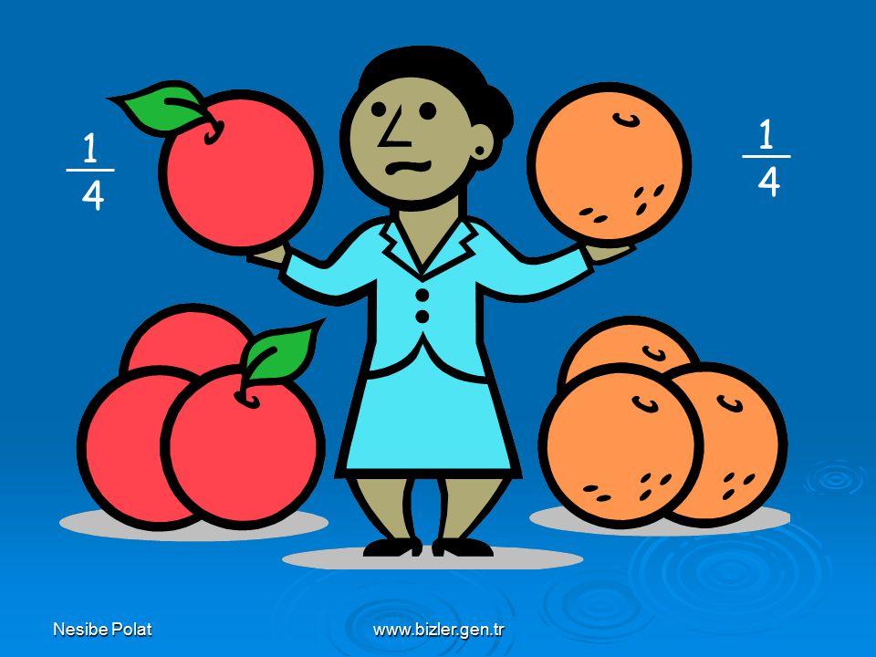 Nesibe Polatwww.bizler.gen.tr 9 elmayı 4 kişiye eşit olarak paylaştırınca her birine ne kadar elma düşer?