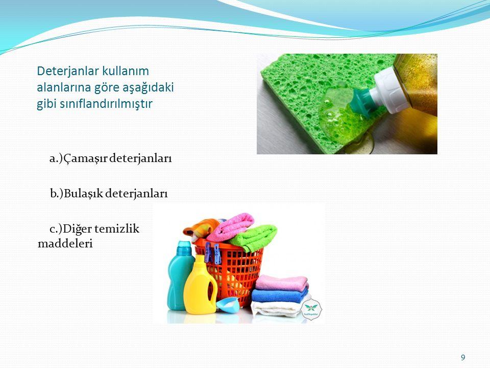 Deterjanlar kullanım alanlarına göre aşağıdaki gibi sınıflandırılmıştır a.)Çamaşır deterjanları b.)Bulaşık deterjanları c.)Diğer temizlik maddeleri 9