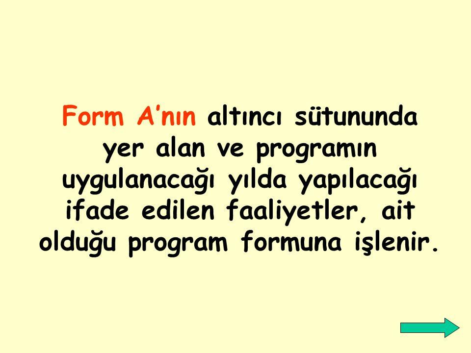Önce Form:A hazırlanır, sonra hangi faaliyetlerin yapılacağı belirlenir.