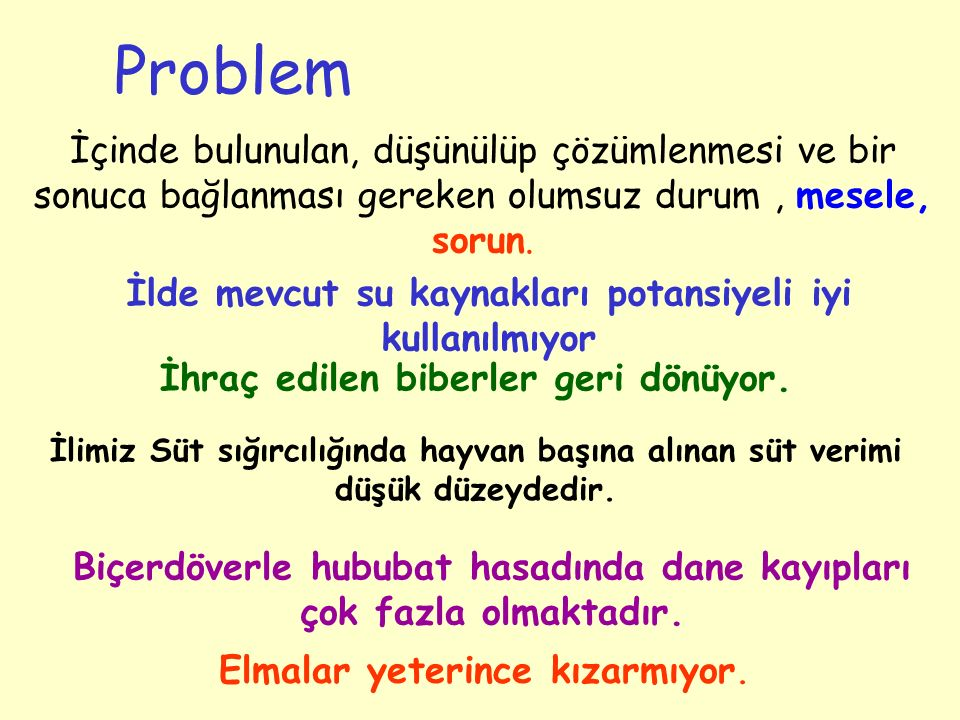 Sorunların ve nedenlerinin ortaya konması için, Hedefe Yönelik Problem Analizi yapılması gerekmektedir.
