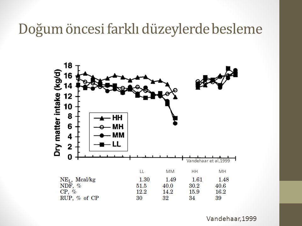 Doğum öncesi farklı düzeylerde besleme LL MM HH MH Vandehaar,1999 Vandehaar et al,1999