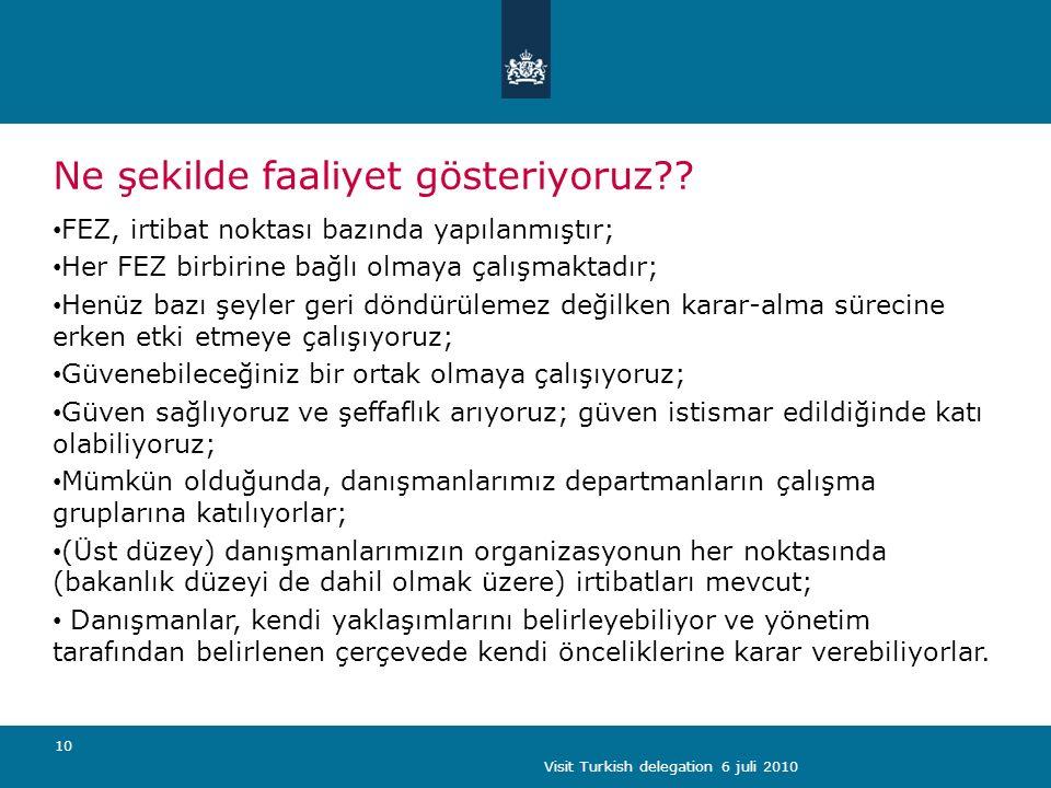 Visit Turkish delegation 6 juli 2010 10 Ne şekilde faaliyet gösteriyoruz .