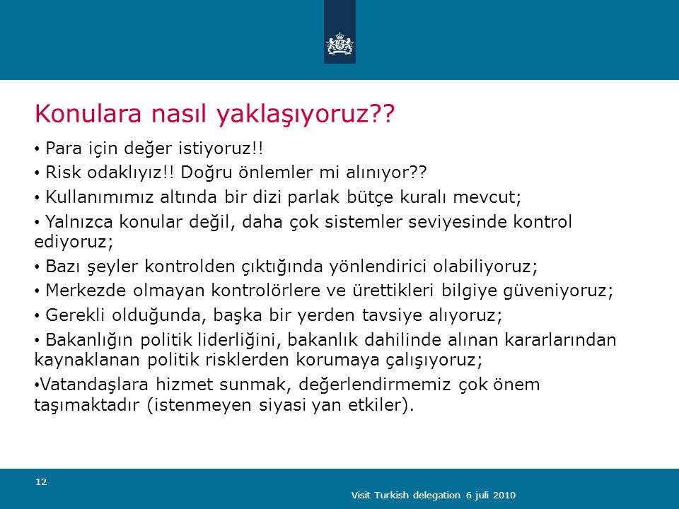 Visit Turkish delegation 6 juli 2010 12 Konulara nasıl yaklaşıyoruz .