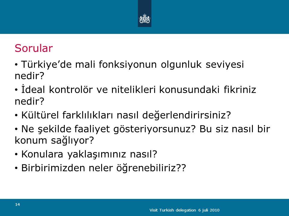 Visit Turkish delegation 6 juli 2010 14 Sorular Türkiye'de mali fonksiyonun olgunluk seviyesi nedir.