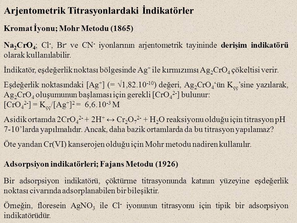Arjentometrik Titrasyonlardaki İndikatörler Kromat İyonu; Mohr Metodu (1865) Na 2 CrO 4 ; Cl -, Br - ve CN - iyonlarının arjentometrik tayininde derişim indikatörü olarak kullanılabilir.
