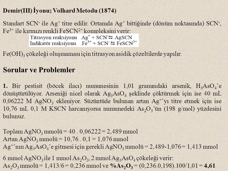 Demir(III) İyonu; Volhard Metodu (1874) Standart SCN - ile Ag + titre edilir.