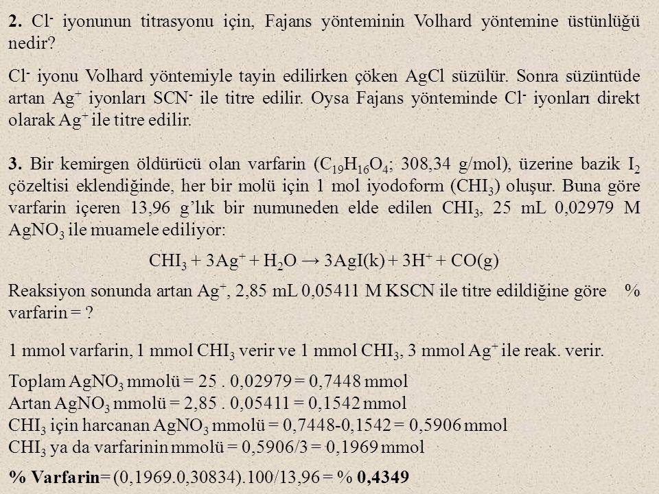 2.Cl - iyonunun titrasyonu için, Fajans yönteminin Volhard yöntemine üstünlüğü nedir.