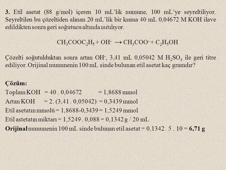 3.Etil asetat (88 g/mol) içeren 10 mL'lik numune, 100 mL'ye seyreltiliyor.