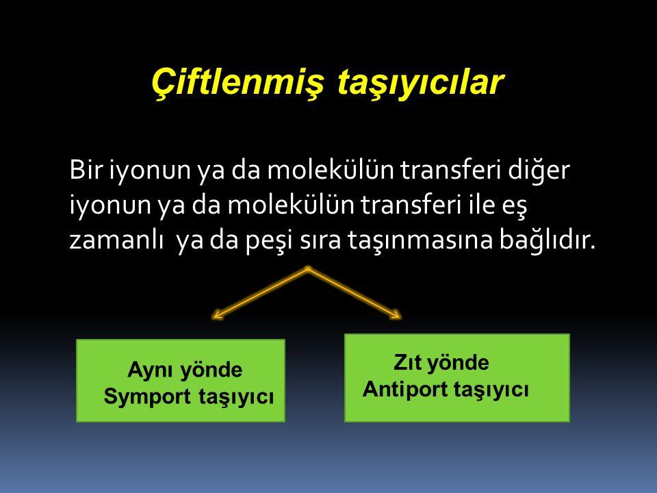 Çiftlenmiş taşıyıcılar Bir iyonun ya da molekülün transferi diğer iyonun ya da molekülün transferi ile eş zamanlı ya da peşi sıra taşınmasına bağlıdır