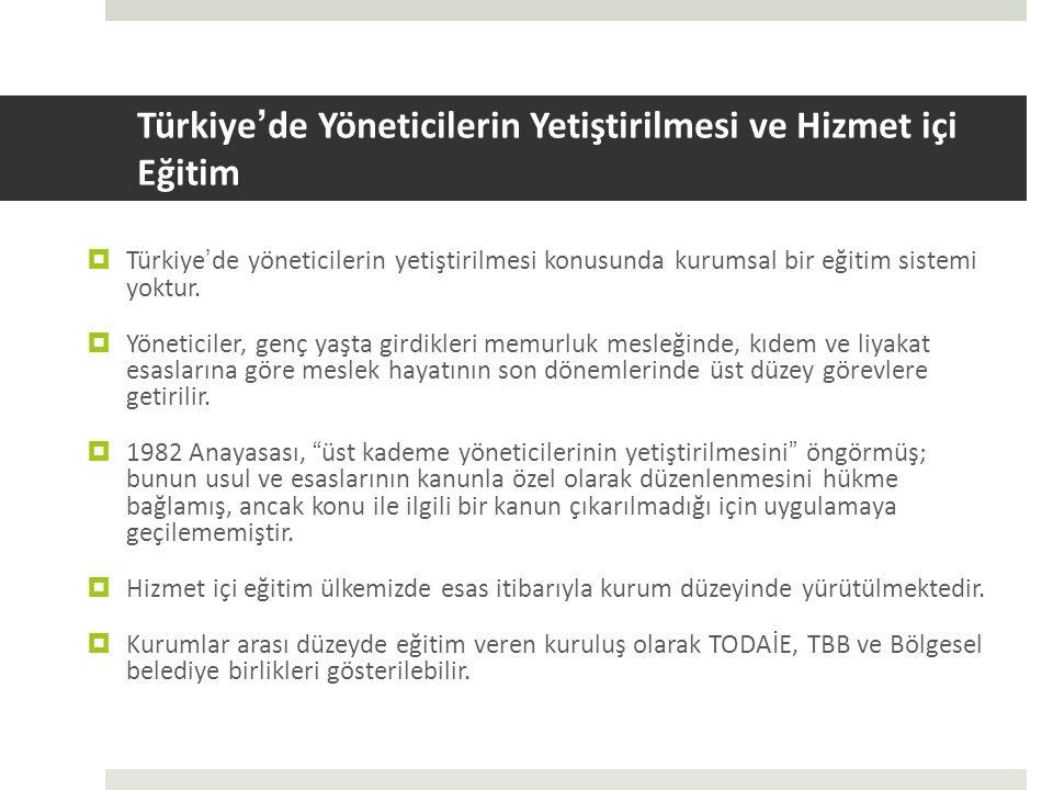 Türkiye ' de Yöneticilerin Yetiştirilmesi ve Hizmet içi Eğitim  Türkiye ' de yöneticilerin yetiştirilmesi konusunda kurumsal bir eğitim sistemi yoktur.