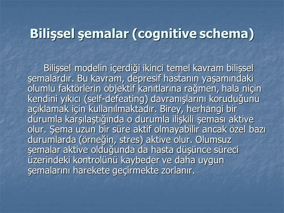 Bilişsel şemalar (cognitive schema) Bilişsel modelin içerdiği ikinci temel kavram bilişsel şemalardır.