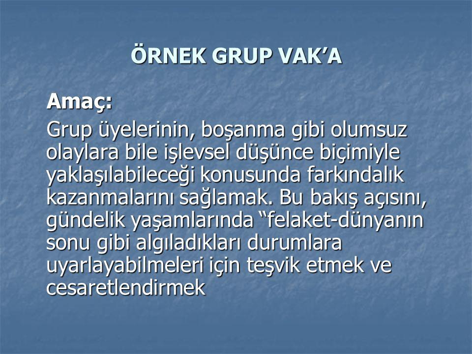 ÖRNEK GRUP VAK'A Amaç: Amaç: Grup üyelerinin, boşanma gibi olumsuz olaylara bile işlevsel düşünce biçimiyle yaklaşılabileceği konusunda farkındalık kazanmalarını sağlamak.