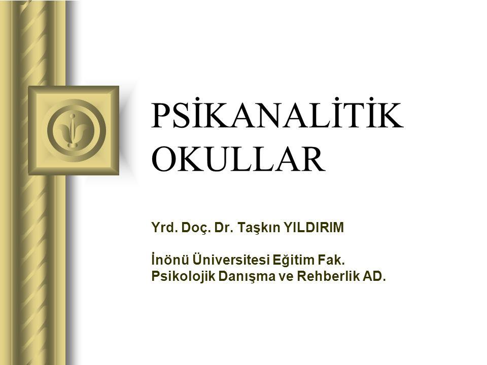 PSİKANALİTİK OKULLAR Yrd. Doç. Dr. Taşkın YILDIRIM İnönü Üniversitesi Eğitim Fak. Psikolojik Danışma ve Rehberlik AD.