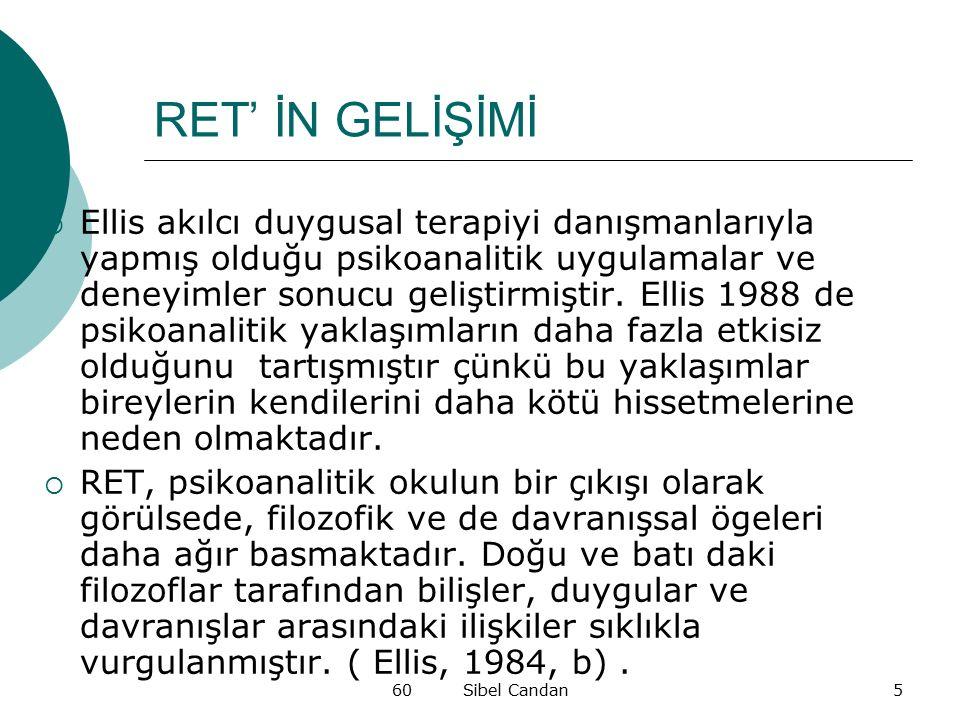 60 Sibel Candan5 RET' İN GELİŞİMİ  Ellis akılcı duygusal terapiyi danışmanlarıyla yapmış olduğu psikoanalitik uygulamalar ve deneyimler sonucu gelişt