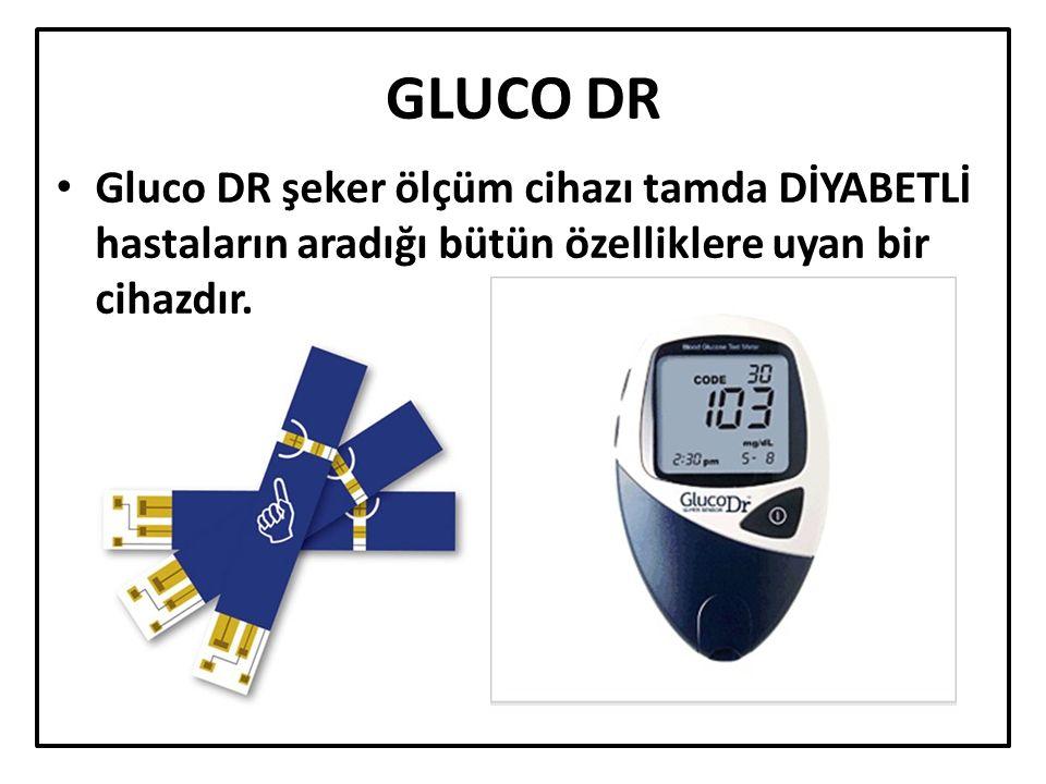 GLUCO DR Gluco DR şeker ölçüm cihazı tamda DİYABETLİ hastaların aradığı bütün özelliklere uyan bir cihazdır.