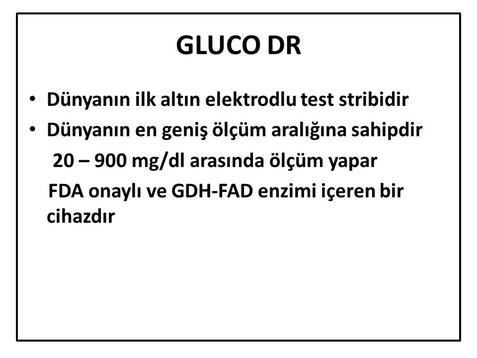 GLUCO DR Dünyanın ilk altın elektrodlu test stribidir Dünyanın en geniş ölçüm aralığına sahipdir 20 – 900 mg/dl arasında ölçüm yapar FDA onaylı ve GDH-FAD enzimi içeren bir cihazdır
