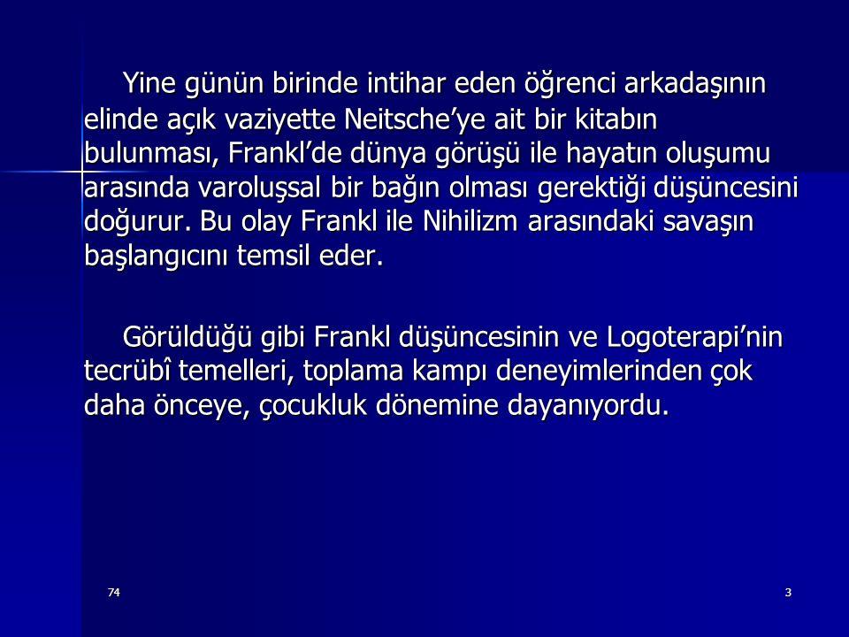 743 Yine günün birinde intihar eden öğrenci arkadaşının elinde açık vaziyette Neitsche'ye ait bir kitabın bulunması, Frankl'de dünya görüşü ile hayatı