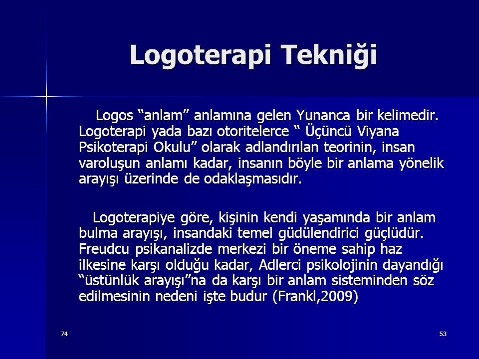 7453 Logoterapi Tekniği Logos ''anlam'' anlamına gelen Yunanca bir kelimedir. Logoterapi yada bazı otoritelerce '' Üçüncü Viyana Psikoterapi Okulu'' o