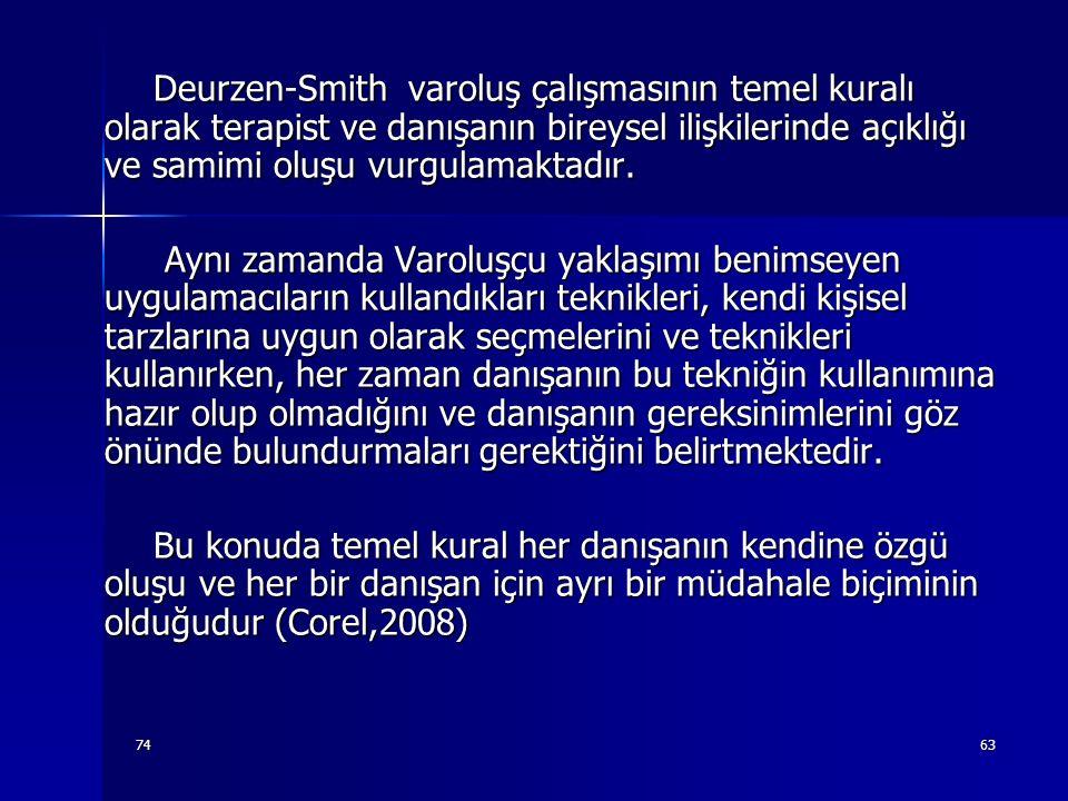 7463 Deurzen-Smith varoluş çalışmasının temel kuralı olarak terapist ve danışanın bireysel ilişkilerinde açıklığı ve samimi oluşu vurgulamaktadır. Deu