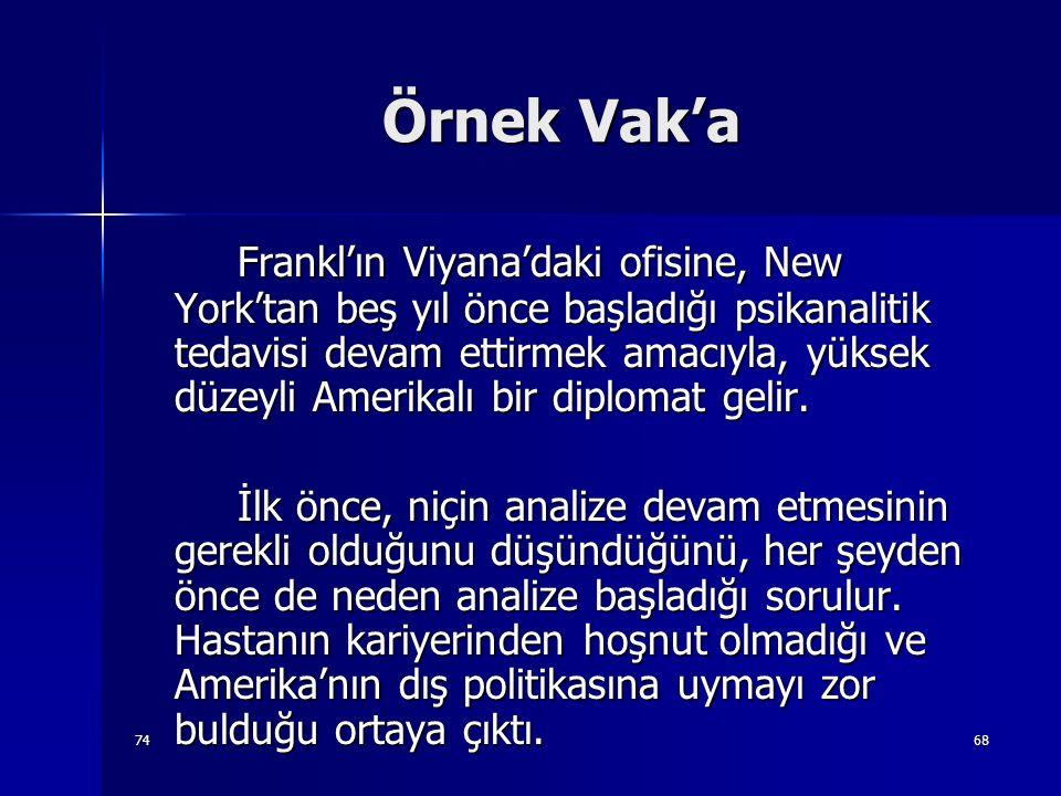 7468 Örnek Vak'a Frankl'ın Viyana'daki ofisine, New York'tan beş yıl önce başladığı psikanalitik tedavisi devam ettirmek amacıyla, yüksek düzeyli Amer