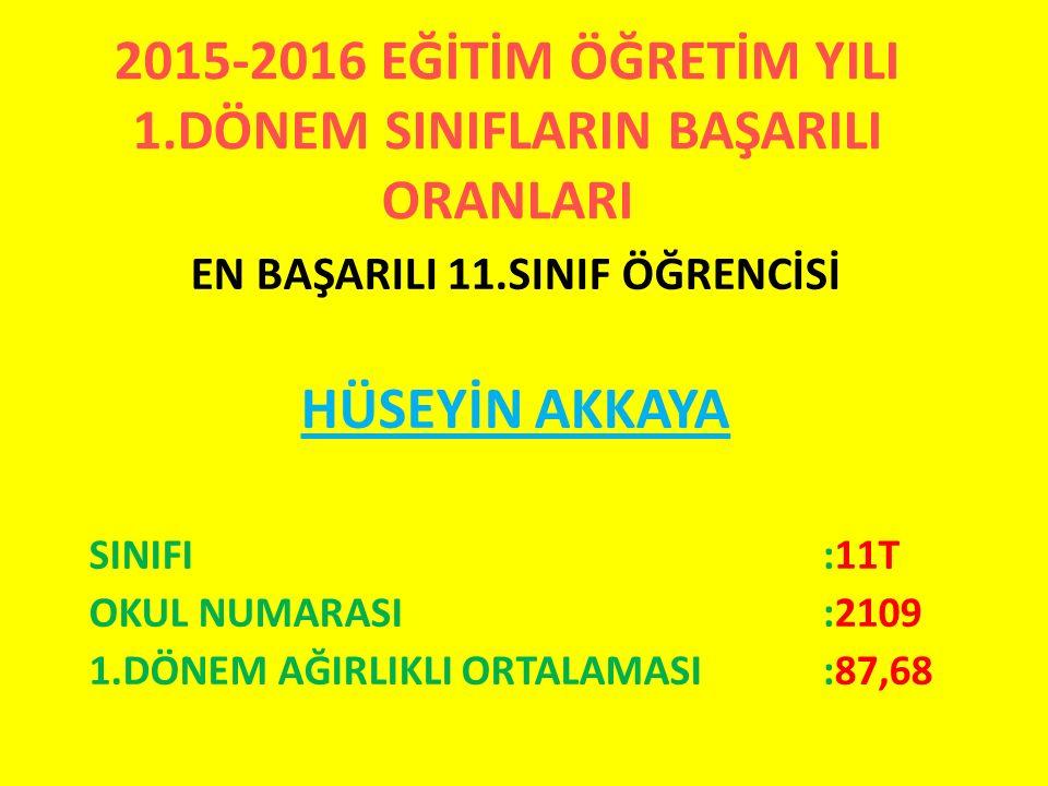 2015-2016 EĞİTİM ÖĞRETİM YILI 1.DÖNEM SINIFLARIN BAŞARILI ORANLARI EN BAŞARILI 11.SINIF ÖĞRENCİSİ HÜSEYİN AKKAYA SINIFI:11T OKUL NUMARASI:2109 1.DÖNEM