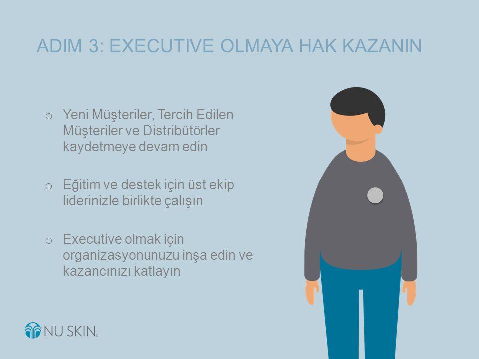 ADIM 3: EXECUTIVE OLMAYA HAK KAZANIN o Yeni Müşteriler, Tercih Edilen Müşteriler ve Distribütörler kaydetmeye devam edin o Eğitim ve destek için üst ekip liderinizle birlikte çalışın o Executive olmak için organizasyonunuzu inşa edin ve kazancınızı katlayın