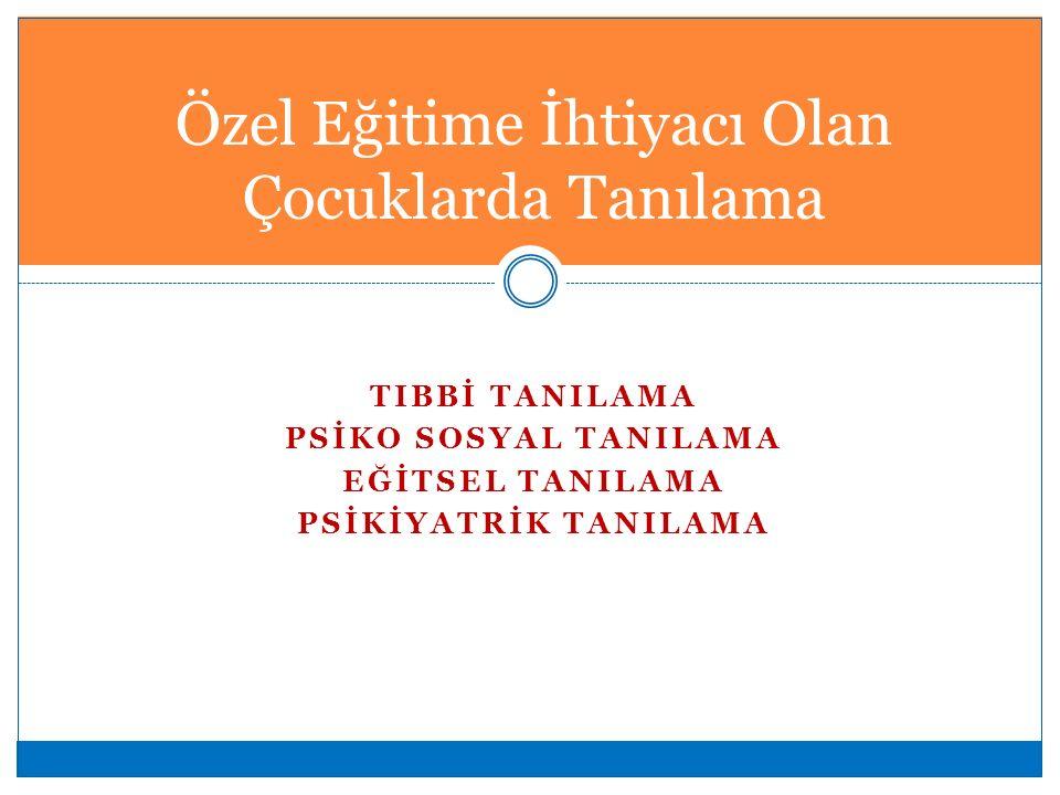 TIBBİ TANILAMA PSİKO SOSYAL TANILAMA EĞİTSEL TANILAMA PSİKİYATRİK TANILAMA Özel Eğitime İhtiyacı Olan Çocuklarda Tanılama