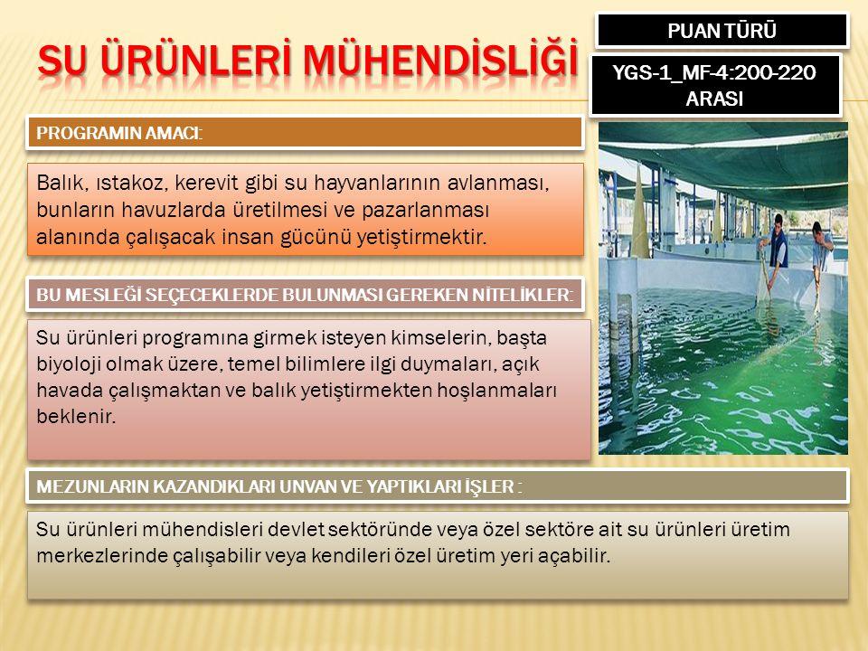 PUAN TÜRÜ YGS-1_MF-4:200-220 ARASI PROGRAMIN AMACI: Balık, ıstakoz, kerevit gibi su hayvanlarının avlanması, bunların havuzlarda üretilmesi ve pazarlanması alanında çalışacak insan gücünü yetiştirmektir.