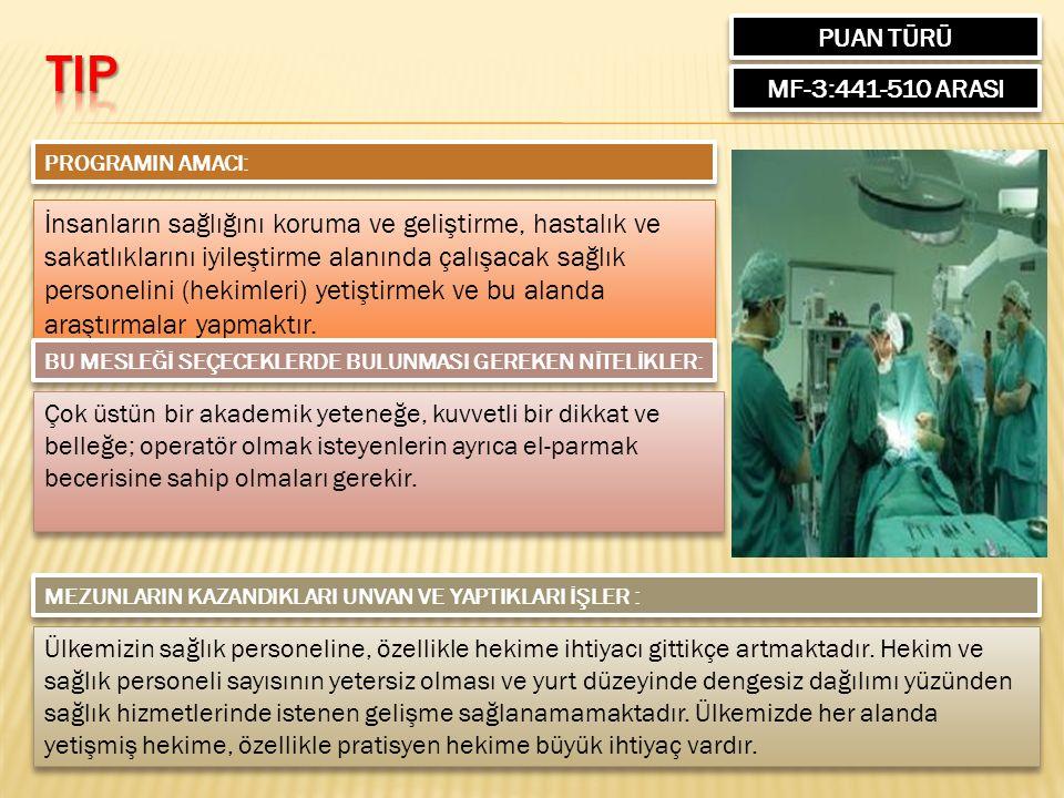 PUAN TÜRÜ MF-3:441-510 ARASI PROGRAMIN AMACI: İnsanların sağlığını koruma ve geliştirme, hastalık ve sakatlıklarını iyileştirme alanında çalışacak sağlık personelini (hekimleri) yetiştirmek ve bu alanda araştırmalar yapmaktır.