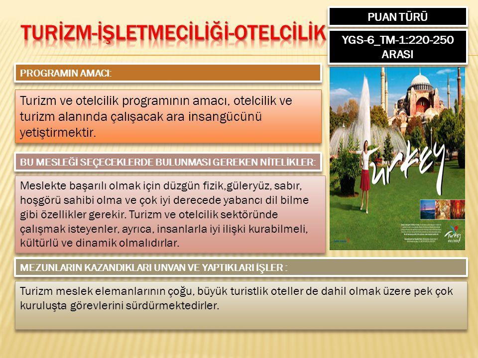 PUAN TÜRÜ YGS-6_TM-1:220-250 ARASI PROGRAMIN AMACI: Turizm ve otelcilik programının amacı, otelcilik ve turizm alanında çalışacak ara insangücünü yetiştirmektir.