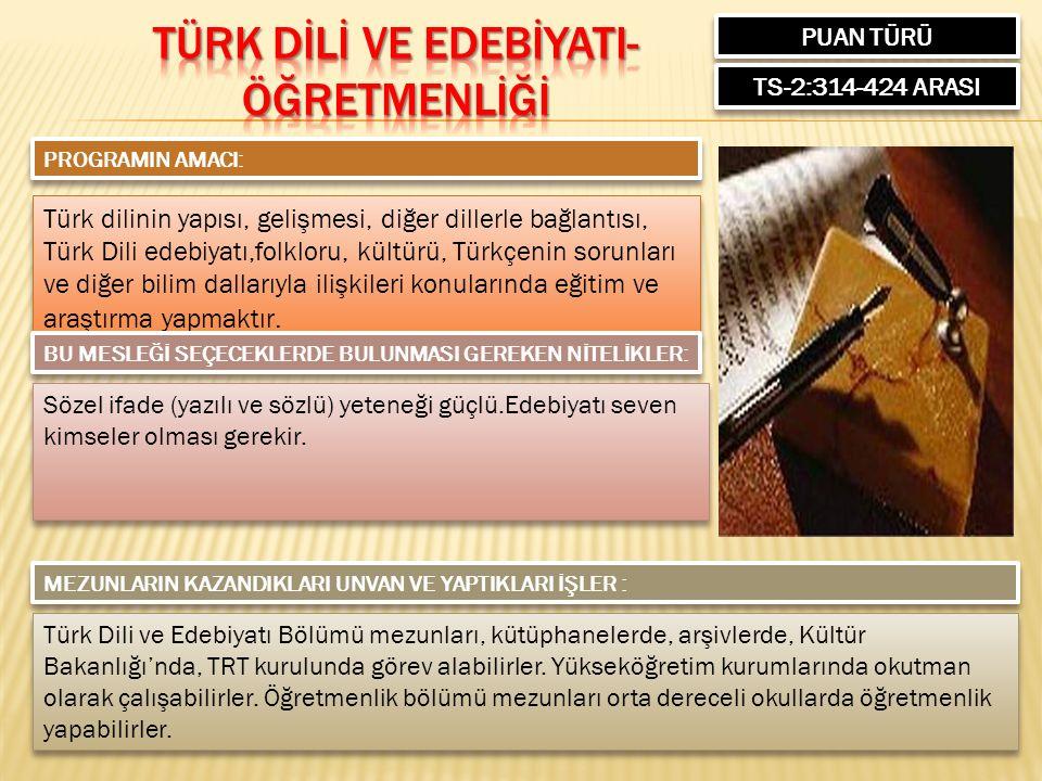 PUAN TÜRÜ TS-2:314-424 ARASI PROGRAMIN AMACI: Türk dilinin yapısı, gelişmesi, diğer dillerle bağlantısı, Türk Dili edebiyatı,folkloru, kültürü, Türkçenin sorunları ve diğer bilim dallarıyla ilişkileri konularında eğitim ve araştırma yapmaktır.