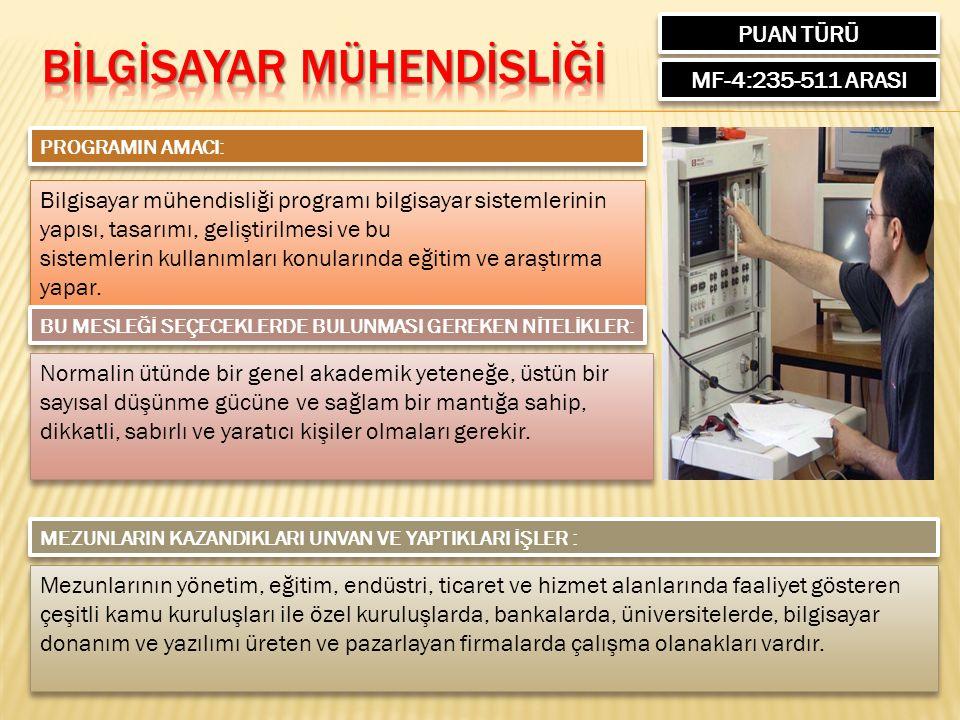 PUAN TÜRÜ MF-4:235-511 ARASI PROGRAMIN AMACI: Bilgisayar mühendisliği programı bilgisayar sistemlerinin yapısı, tasarımı, geliştirilmesi ve bu sistemlerin kullanımları konularında eğitim ve araştırma yapar.