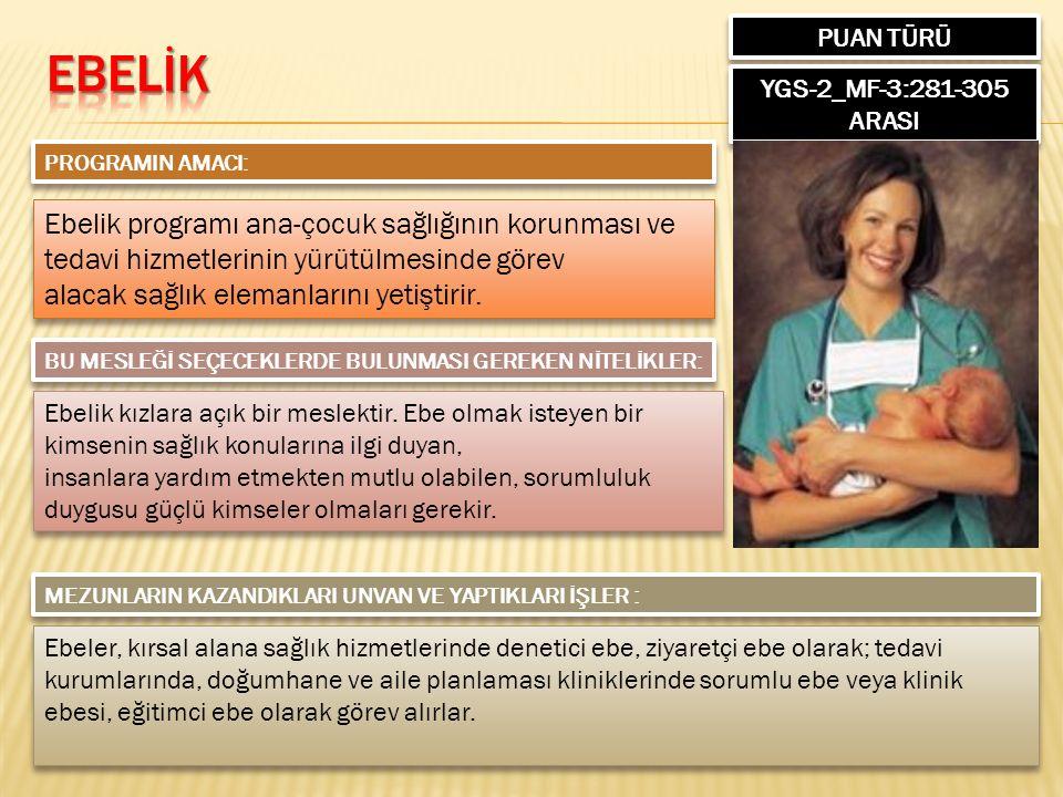 PUAN TÜRÜ YGS-2_MF-3:281-305 ARASI PROGRAMIN AMACI: Ebelik programı ana-çocuk sağlığının korunması ve tedavi hizmetlerinin yürütülmesinde görev alacak sağlık elemanlarını yetiştirir.