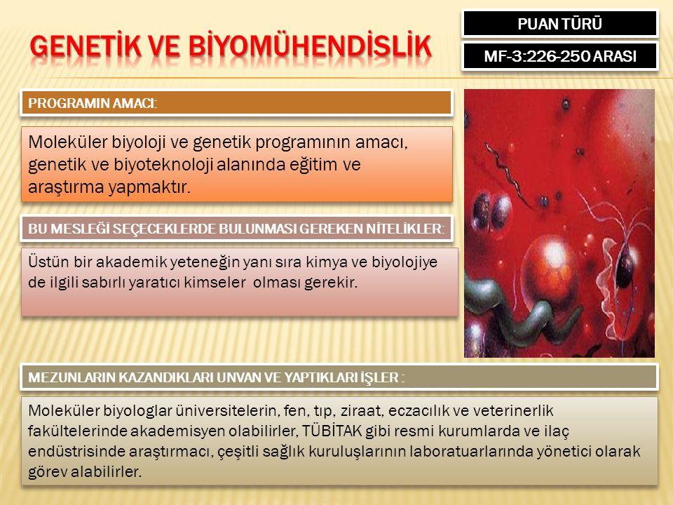 PUAN TÜRÜ MF-3:226-250 ARASI PROGRAMIN AMACI: Moleküler biyoloji ve genetik programının amacı, genetik ve biyoteknoloji alanında eğitim ve araştırma yapmaktır.