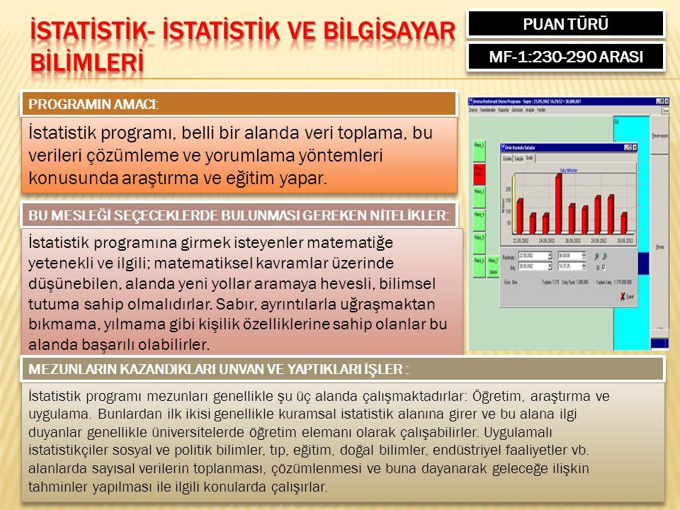 PUAN TÜRÜ MF-1:230-290 ARASI PROGRAMIN AMACI: İstatistik programı, belli bir alanda veri toplama, bu verileri çözümleme ve yorumlama yöntemleri konusunda araştırma ve eğitim yapar.
