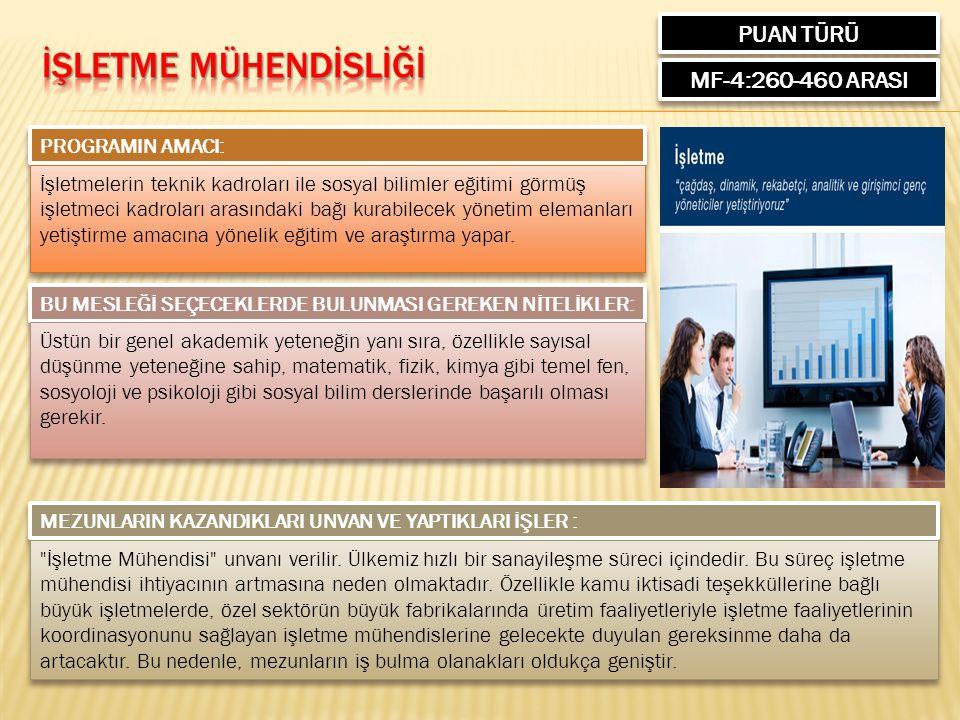 PUAN TÜRÜ MF-4:260-460 ARASI PROGRAMIN AMACI: İşletmelerin teknik kadroları ile sosyal bilimler eğitimi görmüş işletmeci kadroları arasındaki bağı kurabilecek yönetim elemanları yetiştirme amacına yönelik eğitim ve araştırma yapar.