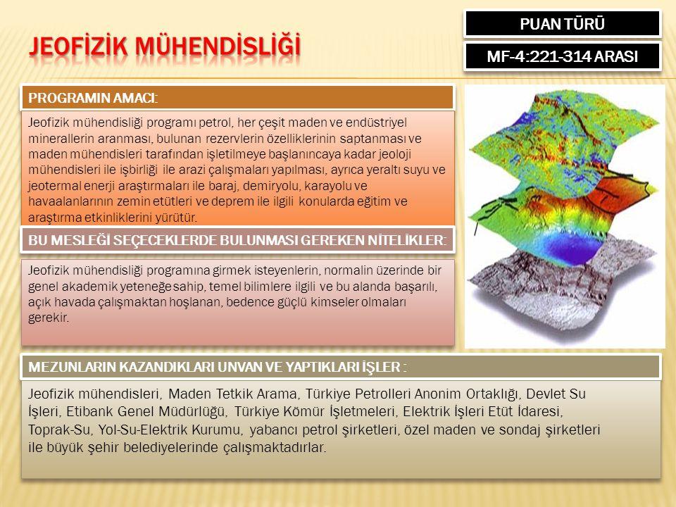 PUAN TÜRÜ MF-4:221-314 ARASI PROGRAMIN AMACI: Jeofizik mühendisliği programı petrol, her çeşit maden ve endüstriyel minerallerin aranması, bulunan rezervlerin özelliklerinin saptanması ve maden mühendisleri tarafından işletilmeye başlanıncaya kadar jeoloji mühendisleri ile işbirliği ile arazi çalışmaları yapılması, ayrıca yeraltı suyu ve jeotermal enerji araştırmaları ile baraj, demiryolu, karayolu ve havaalanlarının zemin etütleri ve deprem ile ilgili konularda eğitim ve araştırma etkinliklerini yürütür.