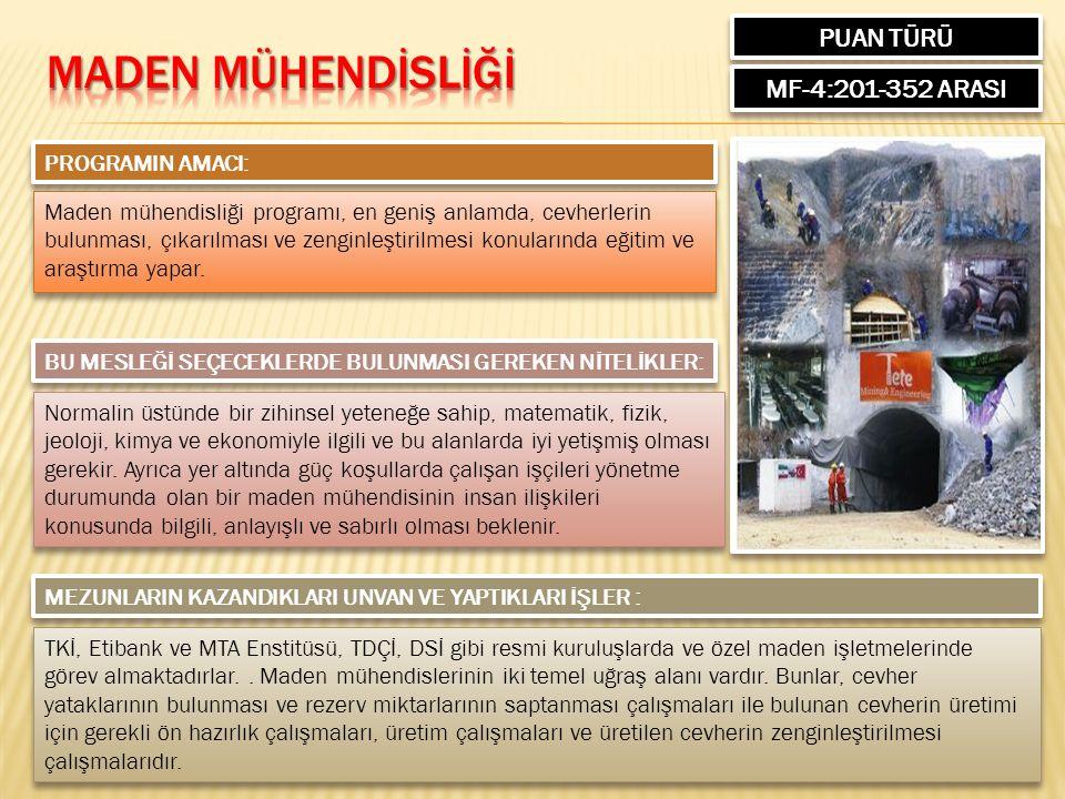 PUAN TÜRÜ MF-4:201-352 ARASI PROGRAMIN AMACI: Maden mühendisliği programı, en geniş anlamda, cevherlerin bulunması, çıkarılması ve zenginleştirilmesi konularında eğitim ve araştırma yapar.